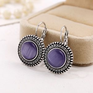 *MERIDIAN* Silver x Purple Fashion Hook Earrings